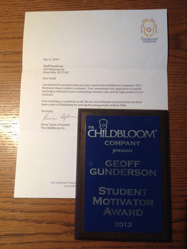 Geoff Gunderson, Childbloom 2013 Student Motivator of the Year